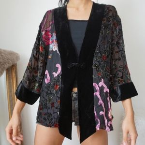 Vintage Silk Velvet Black Floral Patterned Kimono